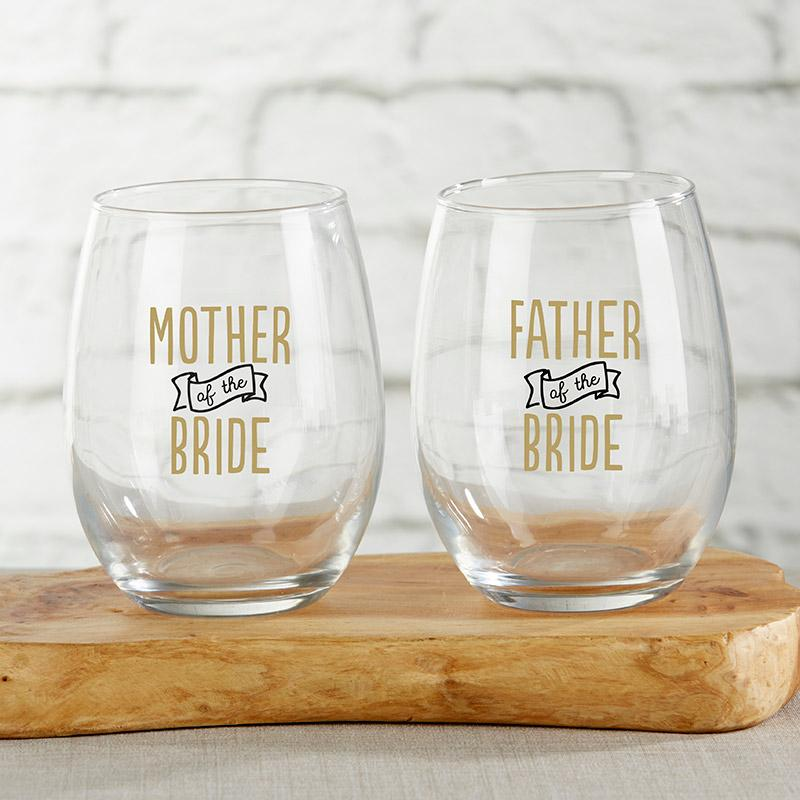 Parents of the Bride Stemless Wine Glass Set - Love Wedding Shop