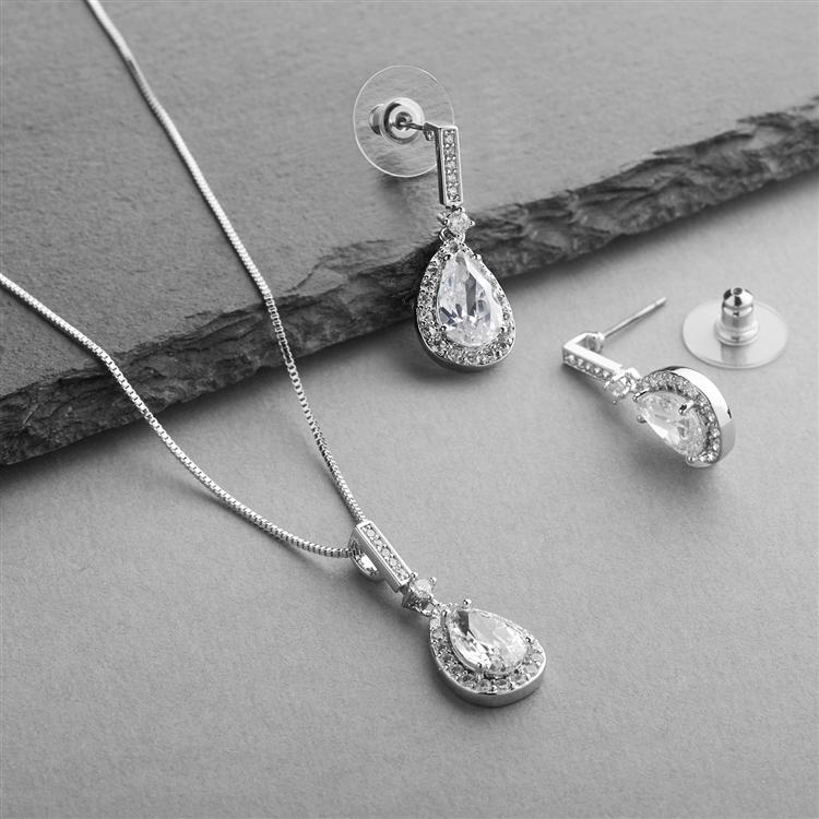 Silver Plated Pave Framed Pear Shaped CZ Pendant and Earrings Set - Love Wedding Shop