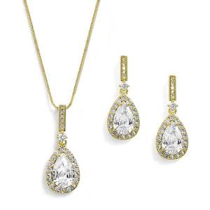 14K Gold Plated Pave Framed Pear Shape CZ Pendant and Earrings Set - Love Wedding Shop