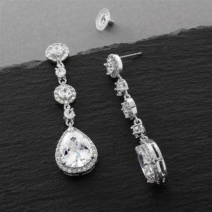 Silver Plated CZ Dangle Earrings - Love Wedding Shop