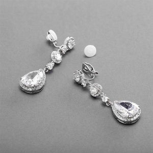 Silver Plated CZ Dangle Clip-On Earrings - Love Wedding Shop