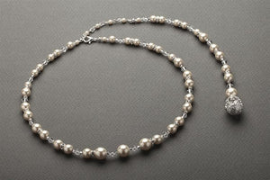 Ivory Pearl and Crystal Backdrop Necklace - Love Wedding Shop