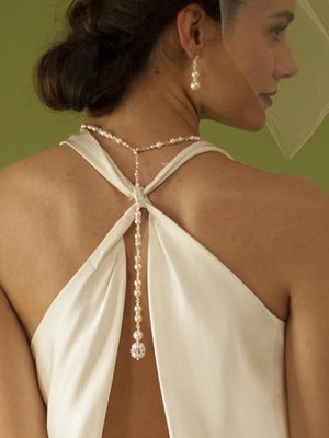 Bride Wearing Ivory Pearl and Crystal Bridal Back Necklace - Love Wedding Shop
