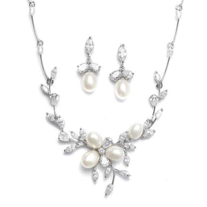 Pearl and Cubic Zirconia Necklace and Earring Set - Love Wedding Shop