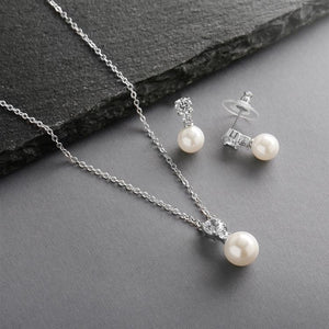 Silver Plated Ivory Pearl DSro Wedding Jewelry Set - Love Wedding Shop