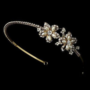 Side Accent Ivory Pearl Flower Bridal Headband - Love Wedding Shop