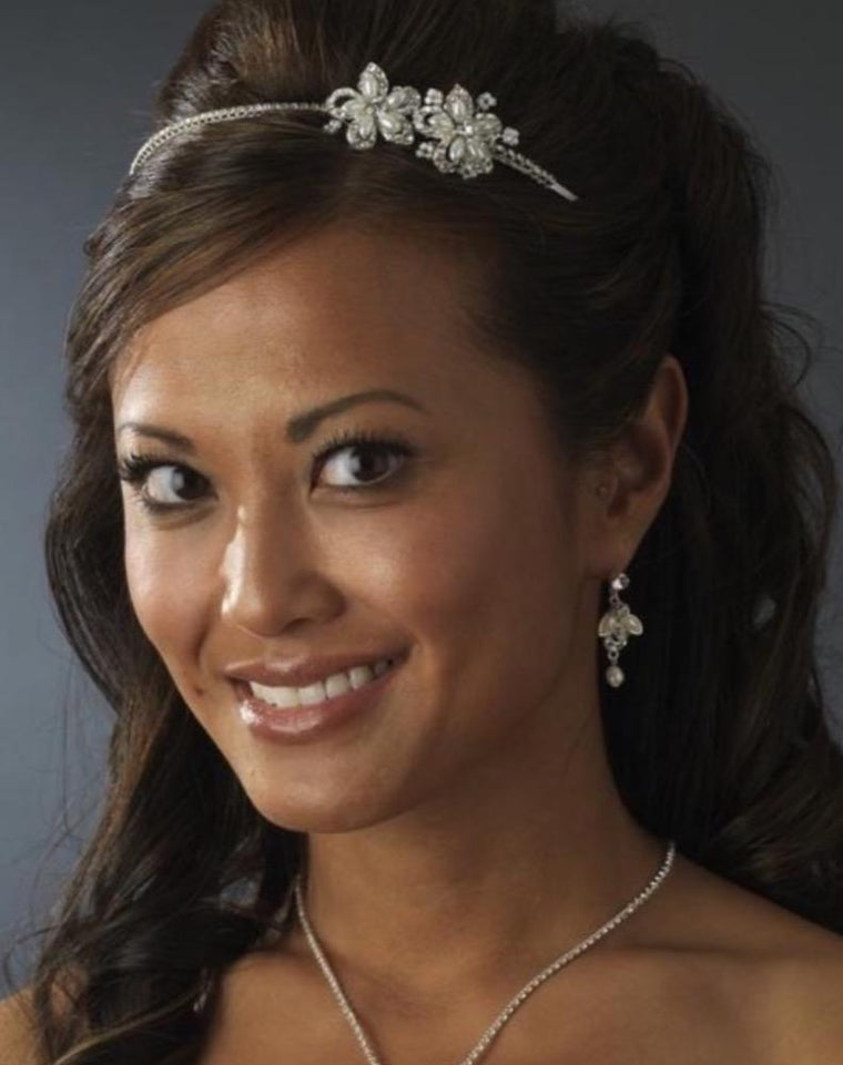 Side Accent White Pearl Flower Bridal Headband - Love Wedding Shop