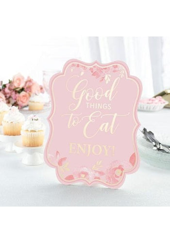 Set of 5 Pink and Gold Bridal Shower Signs - Love Wedding Shop