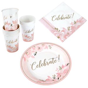 Pink Floral Celebrate Paper Tableware Set - Love Wedding Shop