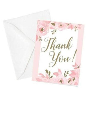 Set of 25 Pink and Gold Thank You Cards with Envelopes - Love Wedding Shop