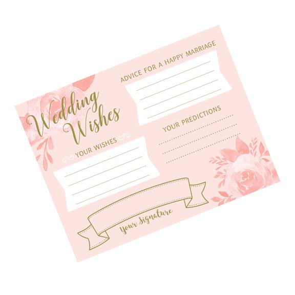 Pink and Gold Wedding Wishes Cards - Love Wedding Shop
