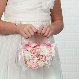 Flower Girl Carrying Pink and White Floral Flower Girl Basket - Love Wedding Shop