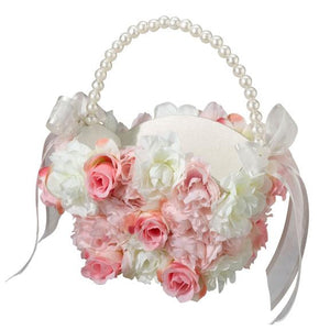 Pink and White Floral Flower Girl Basket - Love Wedding Shop