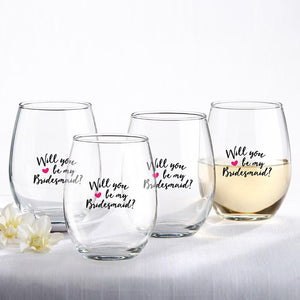Will You Be My Bridesmaid Pink Heart Stemless Wine Glasses - Love Wedding Shop