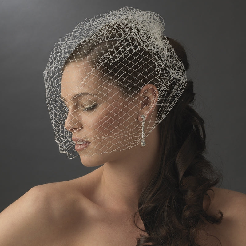 Bride Wearing Plain French Netting Birdcage Veil - Love Wedding Shop