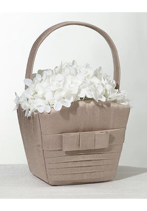 Pleated Taupe Flower Girl Basket - Love Wedding Shop
