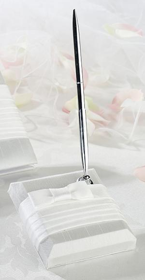 Pleated White Pen Set - Love Wedding Shop