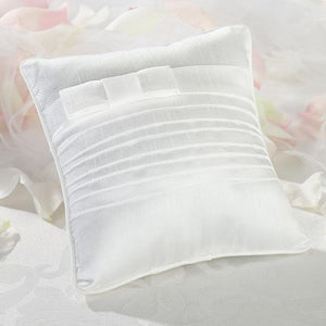 Pleated White Ring Bearer Pillow - Love Wedding Shop