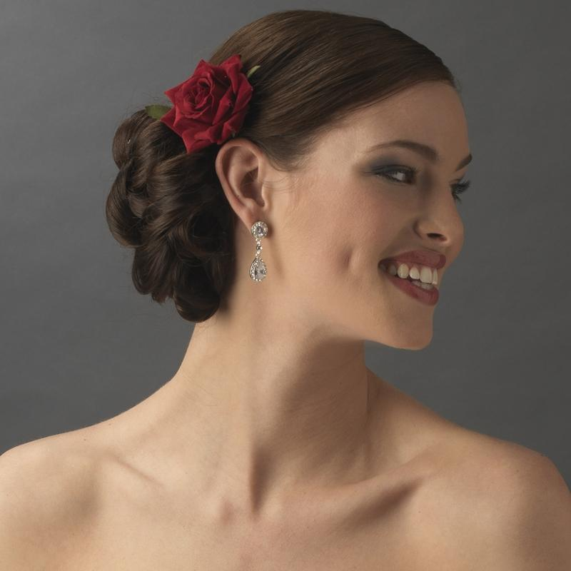 Red Rose Bridal Hair Flower - Love Wedding Shop
