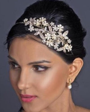 Rhinestone & Ivory Pearl Floral Bridal Headband - Love Wedding Shop