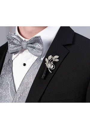 Silver Rhinestone Leaf Boutonniere on Groom's Lapel - Love Wedding Shop