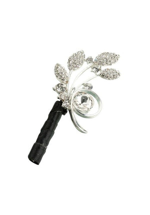 Silver Rhinestone Leaf Boutonniere - Love Wedding Shop