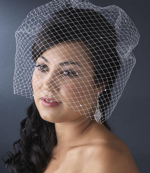 Rhinestone Scattered Russian Tulle Birdcage Veil - Love Wedding Shop