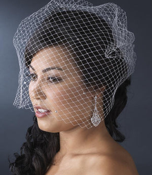 Rhinestone Scattered Russian Birdcage Veil  - Love Wedding Shop