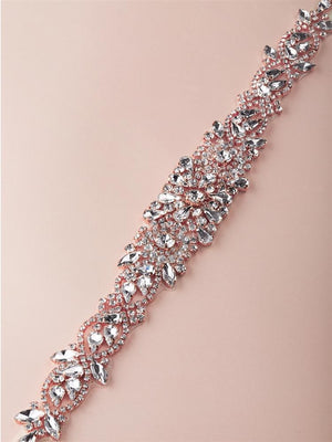 Rose Gold Crystal Bridal Belt - Love Wedding Belt