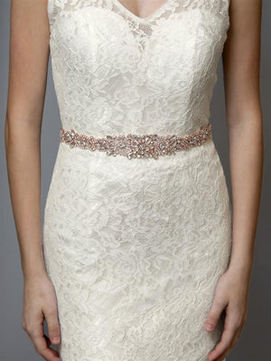 Bride Wearing Rose Gold Crystal Bridal Belt - Love Wedding Shop