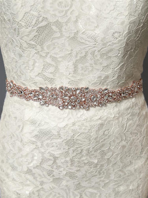 Rose Gold Crystal Bridal Belt on Lace Gown - Love Wedding Shop