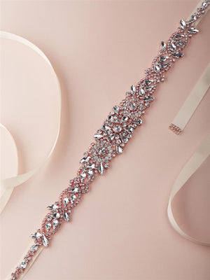 Rose Gold Austrian Crystal Bridal Belt on Ivory Ribbon - Love Wedding Shop