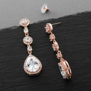 Rose Gold Pear-Shaped CZ Dangle Earrings - Love Wedding Shop
