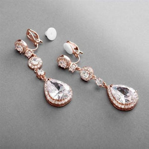 Rose Gold Pear-Shaped CZ Dangle Clip-On Earrings - Love Wedding Shop