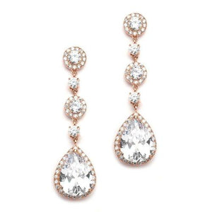 Pear-Shaped Rose Gold CZ Dangle Earrings - Love Wedding Shop