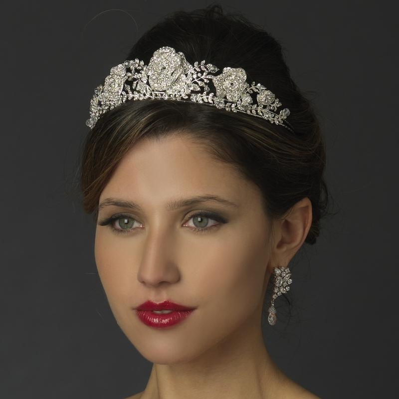 Bride Wearing Silver Plated Roses and Leaves Rhinestone Tiara - Love Wedding Shop
