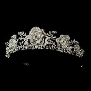 Roses and Leaves Rhinestone Tiara