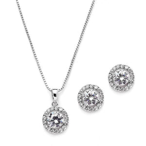 Genuine Platinum Plated Round Halo Cubic Zirconia Pendant and Stud Earrings Set - Love Weddig Shop