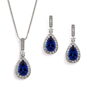 Sapphire Blue Cubic Zirconia Bridesmaid Jewelry Set