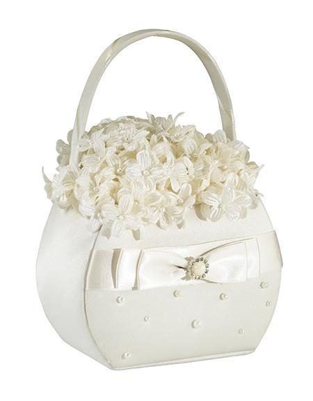 Scattered Pearl Ivory Satin Flower Girl Basket - Love Wedding Shop