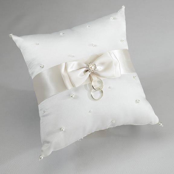 Scattered Pearl Ivory Ring Bearer Pillow - Love Wedding Shop