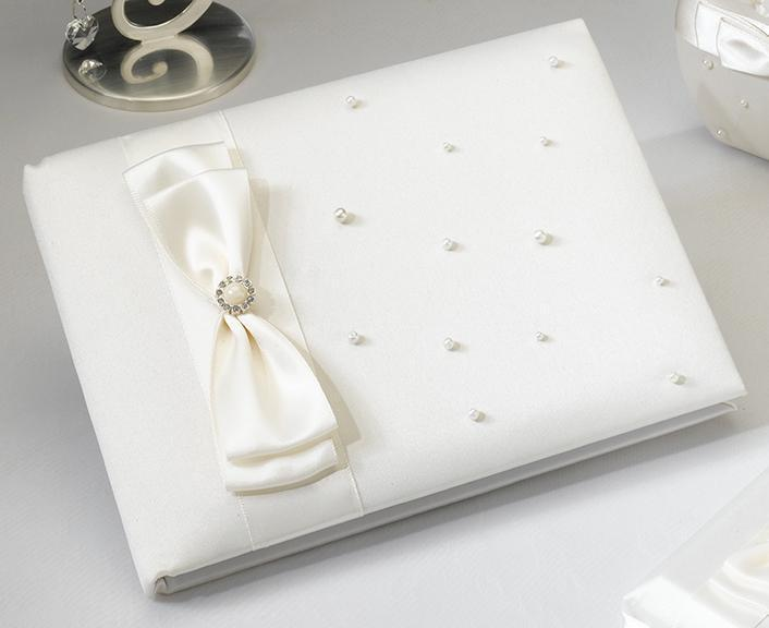 Scattered Pearl Ivory Wedding Guest Book - Love Wedding Shop