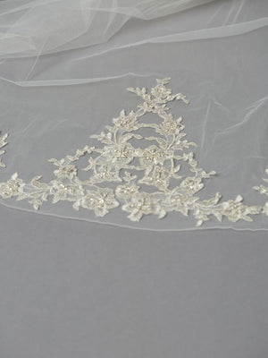 Embroidered Beaded Lace Applique on Bottom Center of Ivory Cathedral Veil - Love Wedding Shop