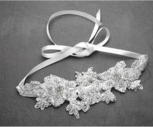 Sculptured White Lace Wedding Headband - Love Wedding Shop