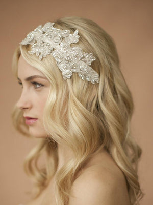 Bride Wearing Ivory Sculptured Lace Wedding Headband with Crystals and Beads - Love Wedding Shop