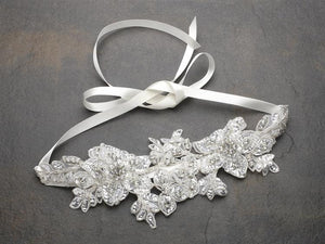 Ivory Sculptured Lace Wedding Headband with Crystals & Beads - Love Wedding Shop