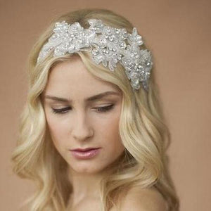 Beaded Sculptured White Lace Wedding Headband - Love Wedding Shop