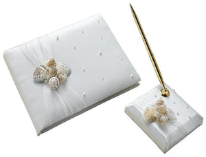 Seashell Ivory Guest Book and Pen Set - Love Wedding Shop