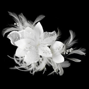 Sequin and Bugle Bead White Floral Feather Fascinator - Love Wedding Shop