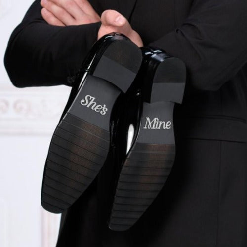 She's Mine Groom Shoe Stickers on Groom's Shoes - Love Wedding Shop